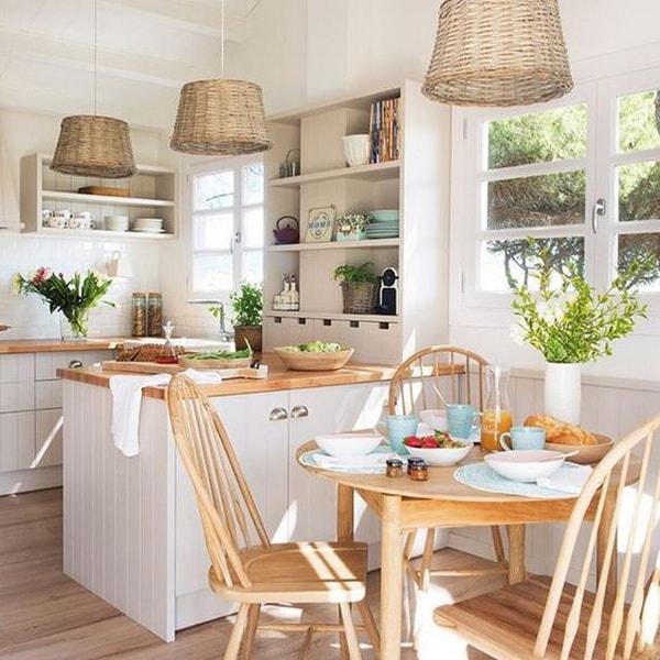 cocina con barra minimalista
